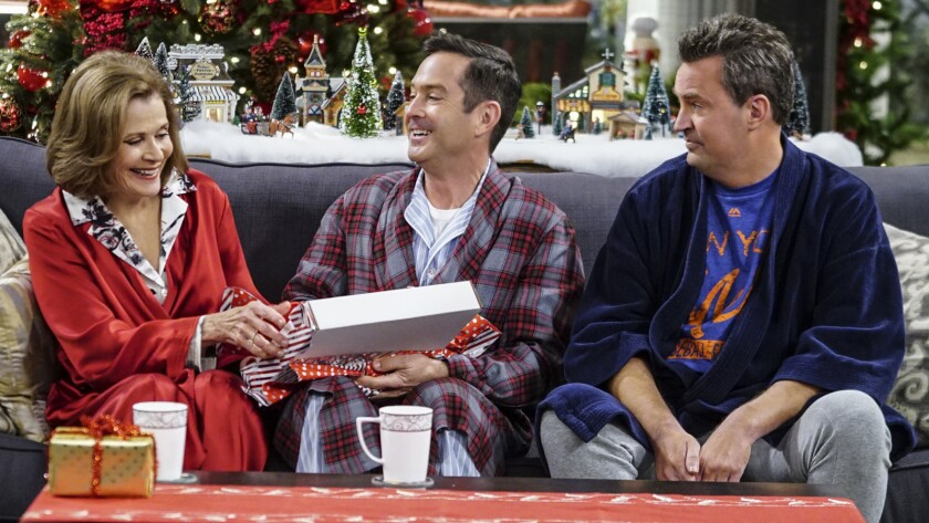 Jessica Walter, left, Thomas Lennon and Matthew Perry.