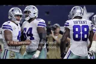 Cowboys' Dez Bryant, Terrance Williams suffer high ankle sprains