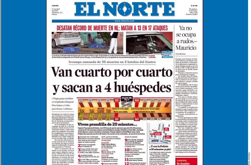 Un operativo de la DEA fue el motivo por el que Los Zetas irrumpieron en un hotel de Monterrey en 2010 y se llevaron a cinco personas, pese a lo cual la agencia antidrogas de Estados Unidos no hizo nada.