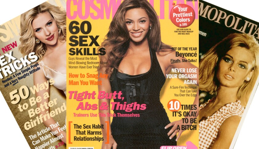 An array of Cosmopolitan magazine covers. Big-box retailer Walmart said it will no longer sell the magazine in checkout lines.