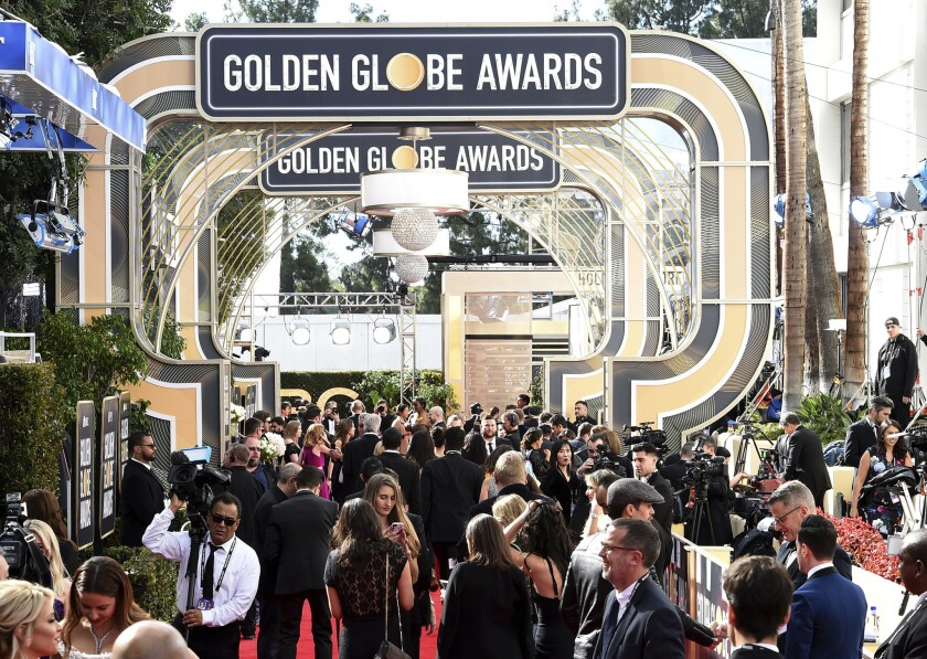 Media set up on the red carpet at the 76th Golden Globe Awards in 2019 at the Beverly Hilton hotel.