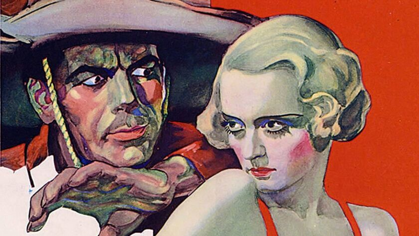 """Detail of the poster for the 1935 film """"Bordertown"""" starring Bette Davis, part of """"The Art of the Movie Poster: Highlights From the Mike Kaplan Collection"""" at the Los Angeles County Museum of Art."""