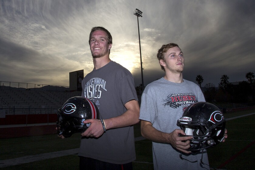 Corona Centennial quarterbacks Nate Ketteringham, left, and Anthony Catalano share duties in one of high school football's most prolific offenses.