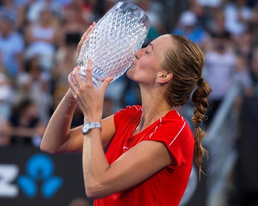 La tenista checa Petra Kvitova este sábado tras vencer en Sídney. EFE