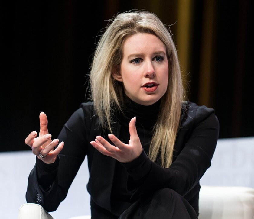 Elizabeth Holmes, founder and CEO of Theranos, attends the Forbes Under 30 Summit at Pennsylvania Convention Center in Philadelphia in October.