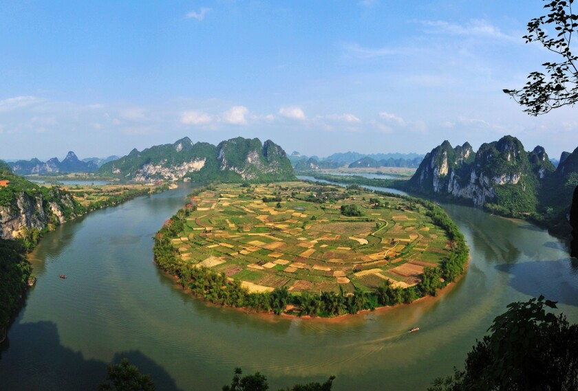 China's Zuojiang Huashan rock art cultural landscape, meandering rivers and tablelands.