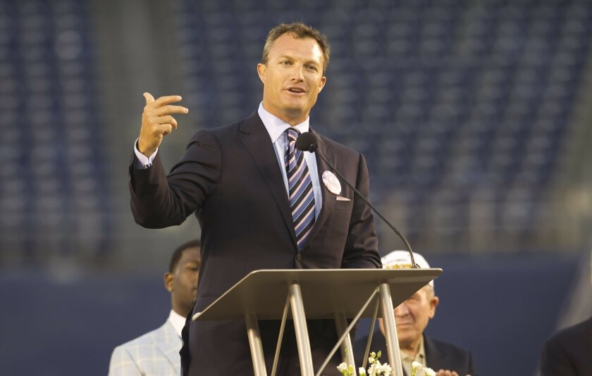 John Lynch spoke to the thousands of fans who attended the Celebration of Life for Junior Seau at Qualcomm Stadium.