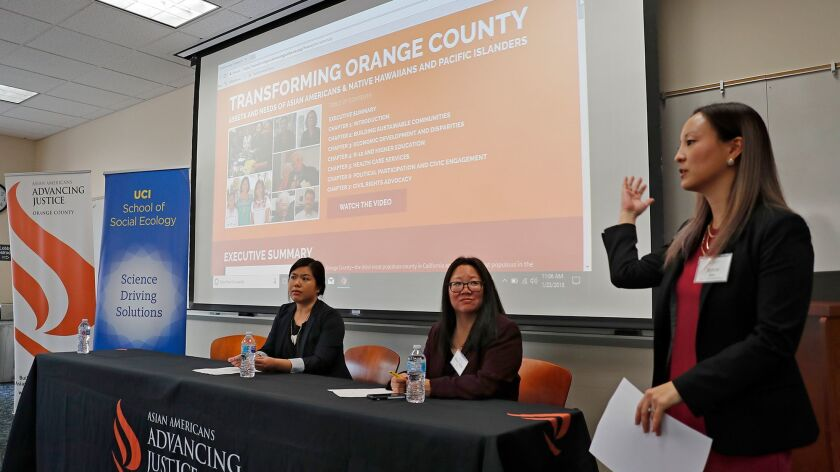 From left to right, speakers Laureen Ham, co-author of Transforming Orange County and Mary Anne Foo,