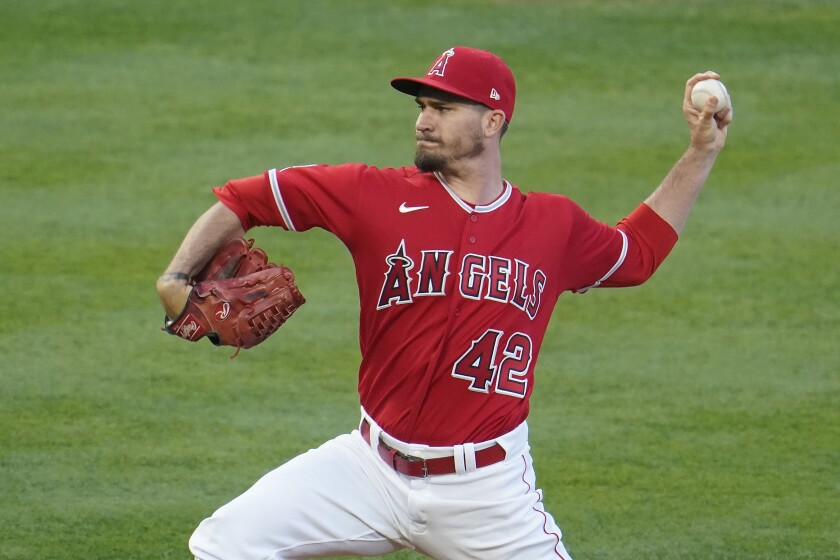 Angels starting pitcher Andrew Heaney delivers against the Minnesota Twins on April 16.