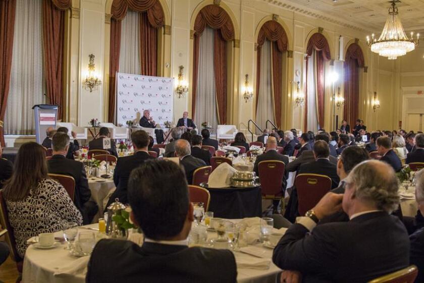 Vista general de una conferencia de prensa organizada por el Consejo Canadiense para las Américas (CCA) sobre el futuro de las relaciones entre Estados Unidos, Canadá y México en Toronto (Canadá). EFE
