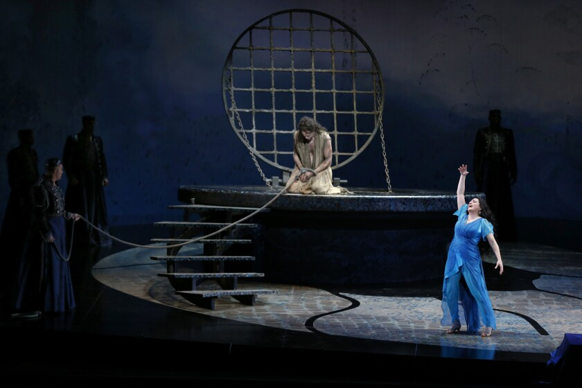 """Patricia Racette, right, and Tomas Tomasson in the production of """"Salome."""""""