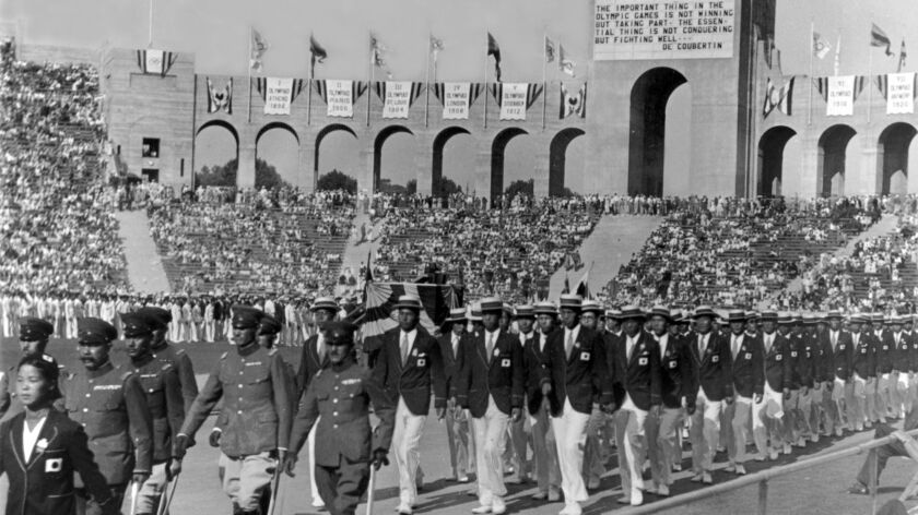 Opening ceremony for the 1932 Olympics at the Los Angeles Memorial Coliseum.