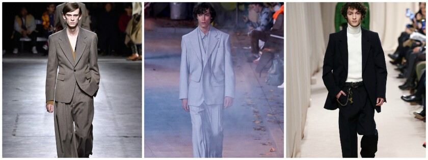 The suit, which has fallen out of favor in recent years thanks to the explosive rise of streetwear, is in the midst of a revival. From left, looks from Dries Van Noten, Louis Vuitton and AMI Mattiussi.