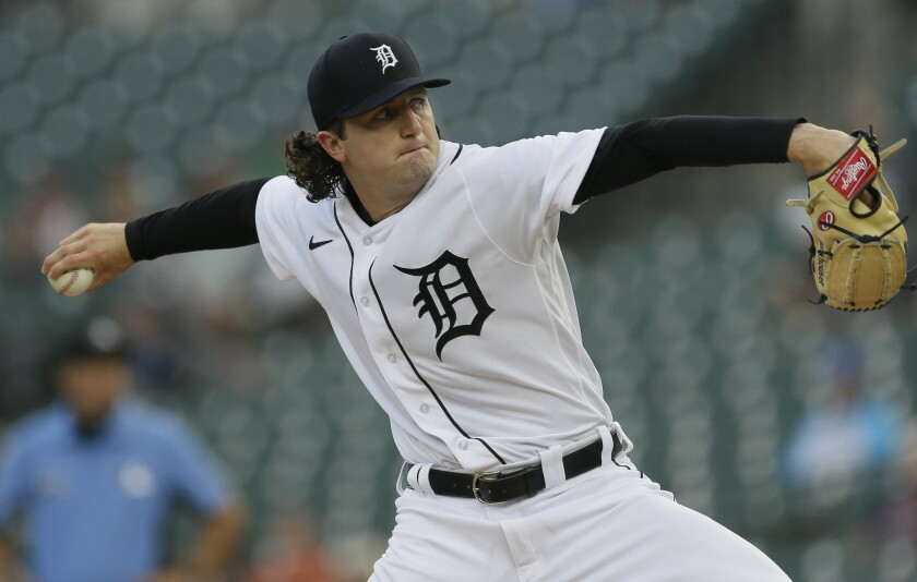 Detroit Tigers' Casey Mize pitches against the Texas Rangers during the first inning of a baseball game Monday, July 19, 2021, in Detroit. (AP Photo/Duane Burleson)
