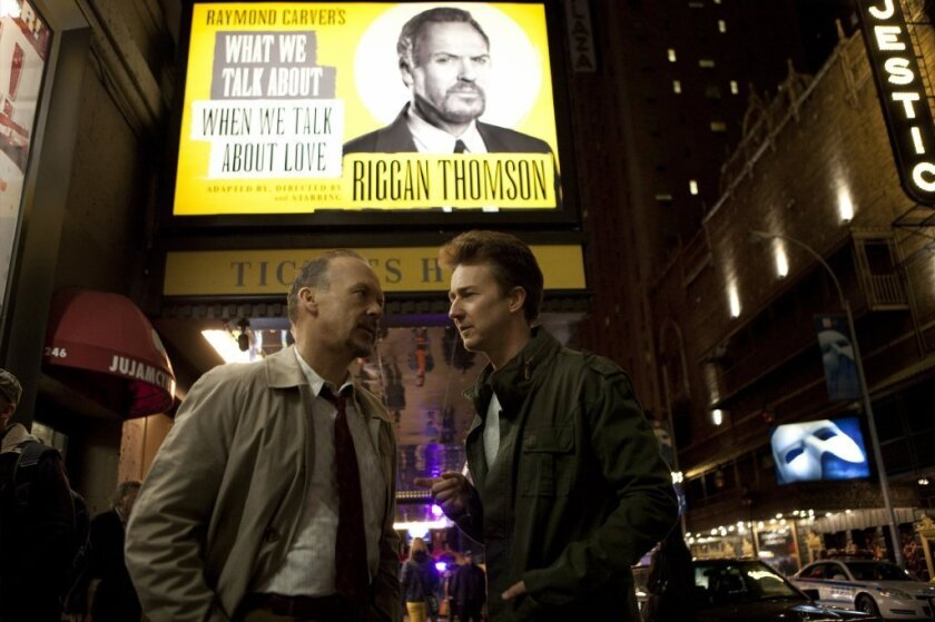 """Michael Keaton and Edward Norton in """"Birdman,"""" which won the Oscar for best picture Sunday night."""
