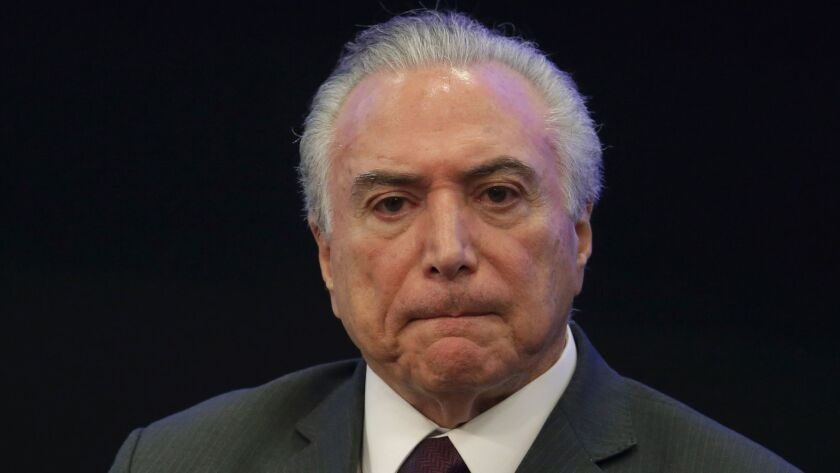 Brazilian President Michel Temer's office canceled his planned activities Thursday in the wake of a newspaper report that he had been taped endorsing bribery of a former lawmaker.