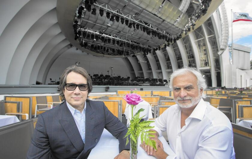 Andrew Hewitt, left, and Bill Silva bring a mix of music to the Hollywood Bowl.