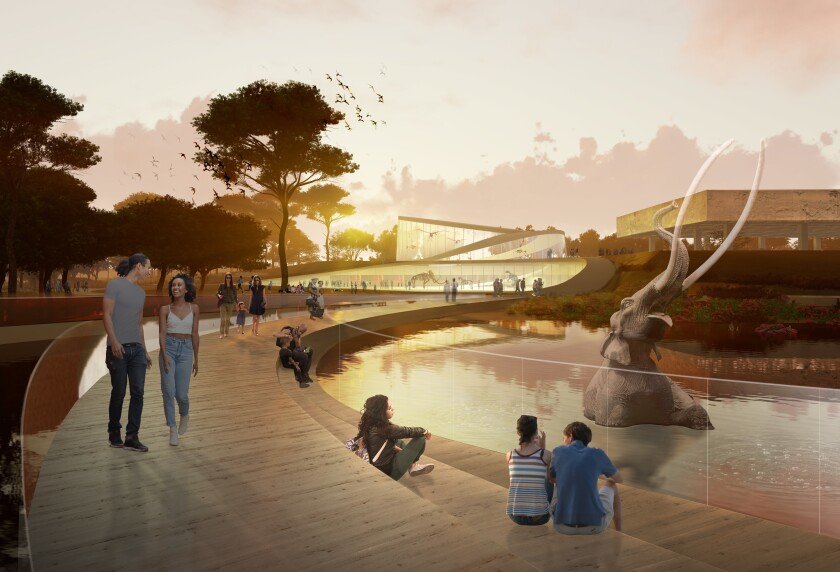 A rendering shows a proposed redesign of the La Brea Tar Pits by Weiss / Manfredi