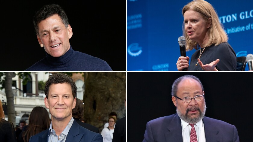 New CBS board members, clockwise from top left; Strauss Zelnick, founder of Zelnick Media Capital; Barbara Byrne, former vice chair of Barclays investment bank; Richard Parsons, former chairman and CEO of Time Warner Inc; Brian Goldner, chairman and CEO of Hasbro.