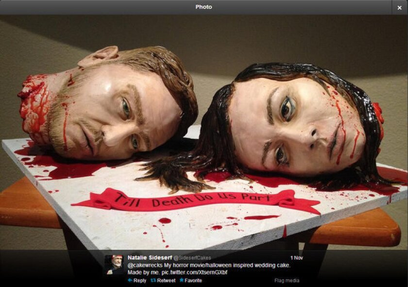 This severed-heads wedding cake was made by Natalie Sideserf of Sideserf Cake Studio in Texas.