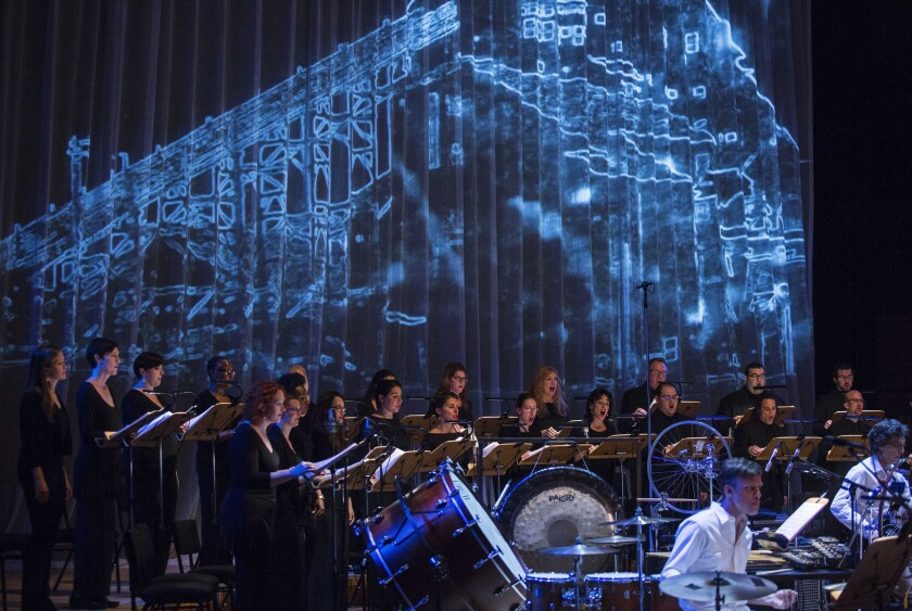 """The Los Angeles Master Chorale performs """"Anthracite Fields: Music of the Coal Miner"""" at Walt Disney Concert Hall on Sunday night."""