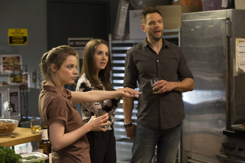 """Back for another season of """"Community"""" are, from left, Gillian Jacobs, Alison Brie and Joel McHale."""