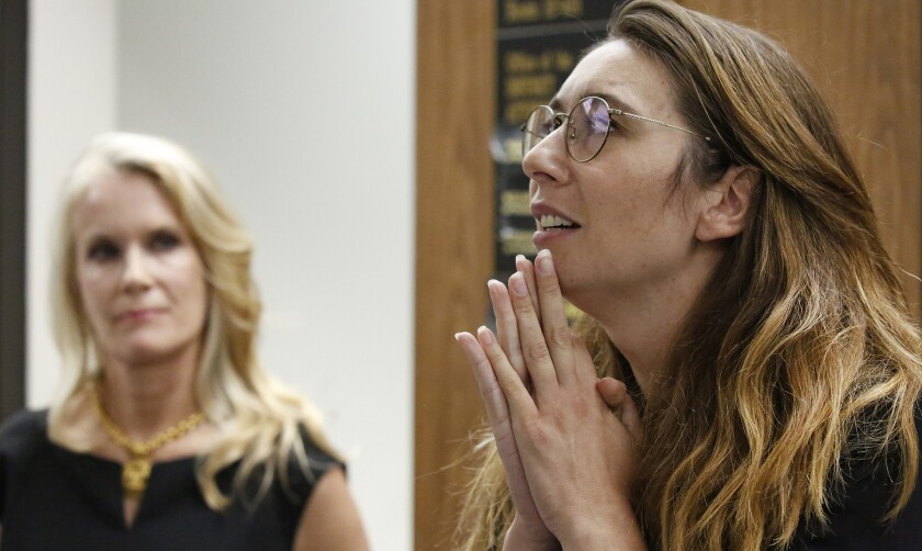 LOS ANGELES, CA - JULY 09, 2019 - Survivors Jessica Gonzales, right, and Audry Nafziger, left, addr