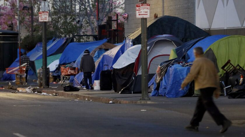Los Angeles, CA February 15, 2018: The streets are lines with tents near East 5th Street and South S