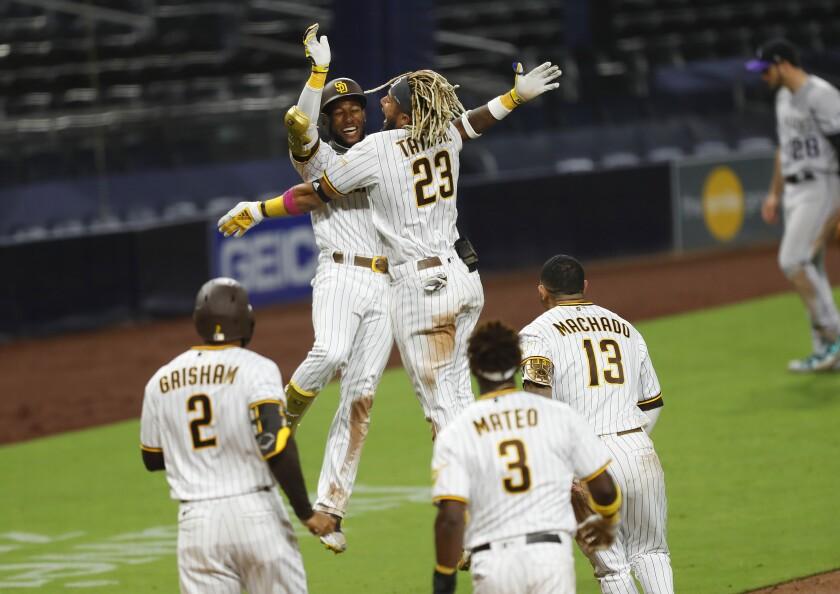 San Diego Padres Jurickson Profar celebrates