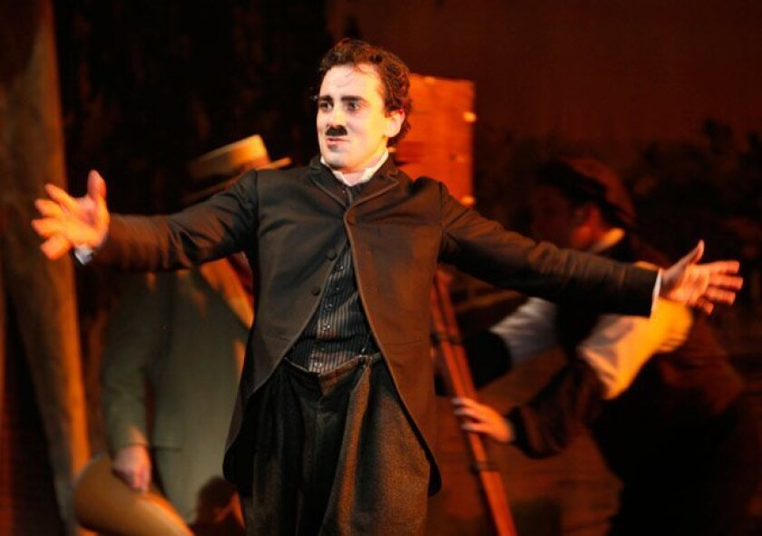 """Charlie Chaplin (Rob McClure) performs a number in the La Jolla Playhouse production of """"Limelight: the Story of Charlie Chaplin."""""""