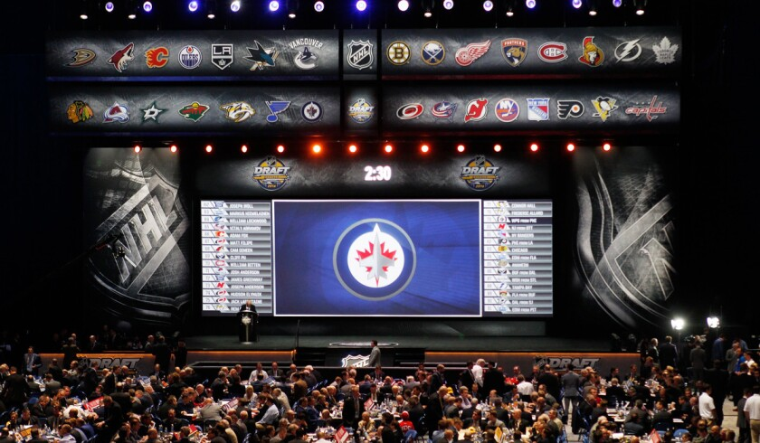 A general view of the NHL draft floor during the 2016 NHL draft on Saturday in Buffalo, N.Y.