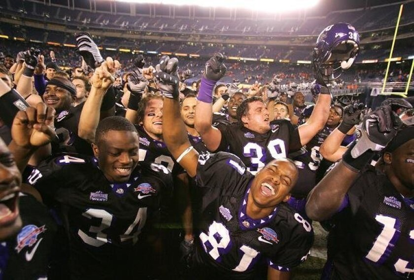 When schools are unable to sell all the tickets they must purchase from a bowl, that can lead to plenty of empty seats, such as at the 2008 Poinsettia Bowl, when TCU celebrated its 17-16 win over Boise State. Each school had been required to buy 7,500 tickets.