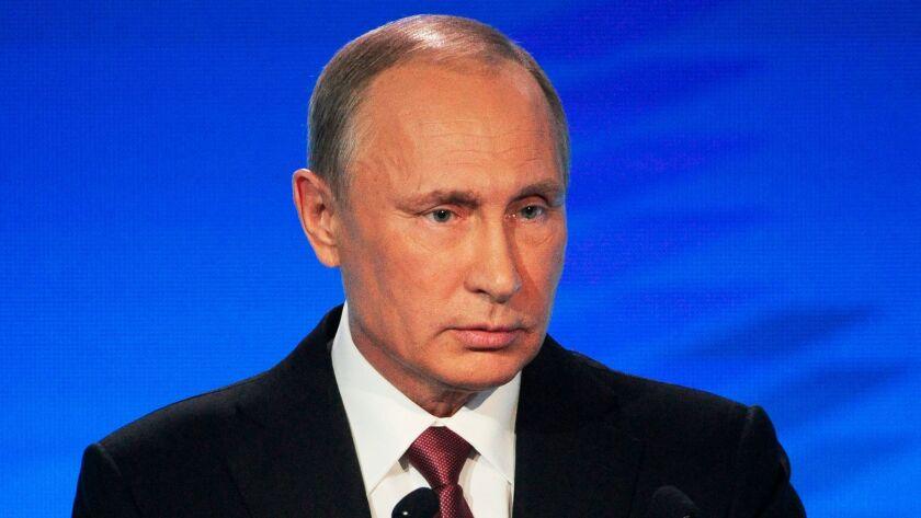 Russian President Vladimir Putin speaks at a meeting of the Valdai International Discussion Club in Sochi, Russia.