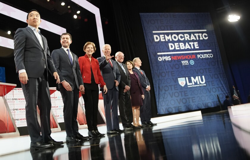 Medicare for All was a focus of Thursday's Democratic presidential debate in Los Angeles, but other alternatives to achieve universal care may be better. From left, entrepreneur Andrew Yang, Mayor of South Bend, Indiana Pete Buttigieg, Massachusetts Sen. Elizabeth Warren, former Vice President Joe Biden, Vermont Sen. Bernie Sanders, Minnesota Sen. Amy Klobuchar and businessman Tom Steyer.