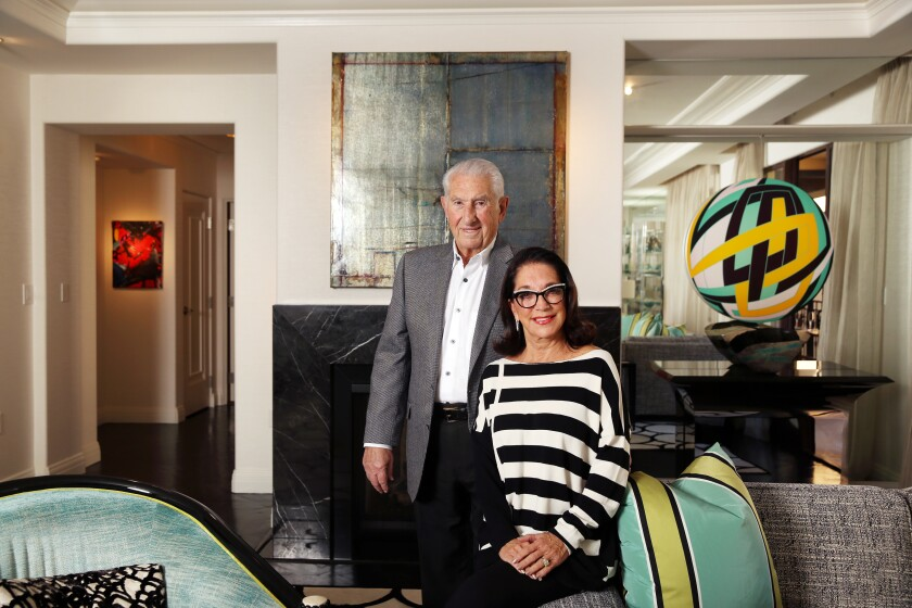 LOS ANGELES, CA-OCTOBER 15, 2019: Mort and Bobbi Topfer, left and right, pose for a portrait in their sixth floor apartment at the Montage Beverly Hills on October 9, 2019 in Los Angeles, California. The residence is the city's only five-star hotel residential property. (Photo By Dania Maxwell / Los Angeles Times)