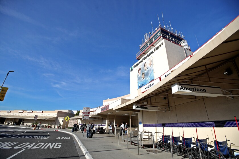 The approach to the passenger pickup and drop-off area at Hollywood Burbank Airport