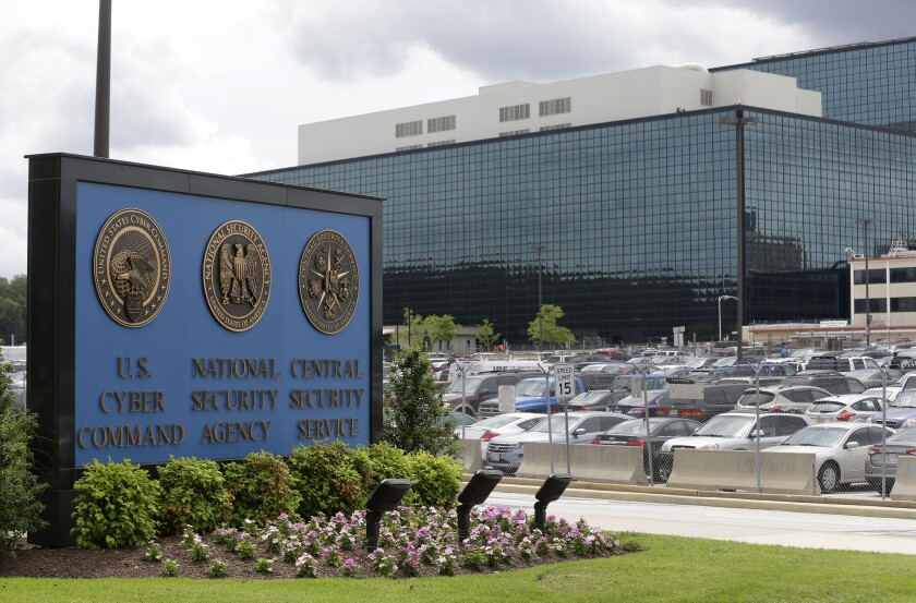 FILE - This June 6, 2013, file photo shows the National Security Administration (NSA) campus in Fort Meade, Md. American officials conducted a cyber operation with Estonia this fall at that country's invitation. That's according to officials from both countries. The joint operation is part of an election-season effort to preemptively identify cyber threats from Russia and other adversaries that could be used against U.S. networks (AP Photo/Patrick Semansky)