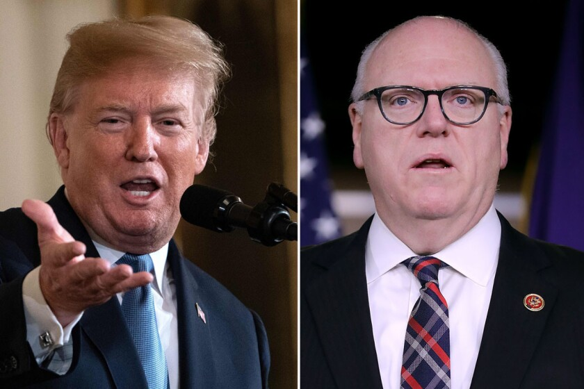 US President Donald Trump speaks as he posthumously awards the Medal of Honor at the White House in Washington, DC, on June 26, 2018. Rep. Joseph Crowley (D-NY) talks with reporters following a meeting of the House Democratic caucus at the U.S. Capitol.