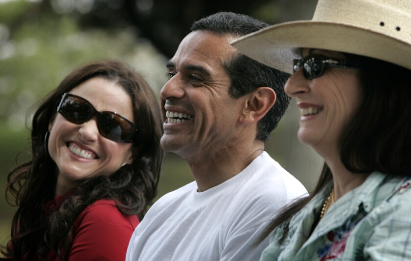Julia Louis¿Dreyfus, left, and Anjelica Huston, right, were among the celebrities present during Mayor Antonio Villaraigosa's announcement detailing his million trees initiative at Hazard Park in Boyle Heights.