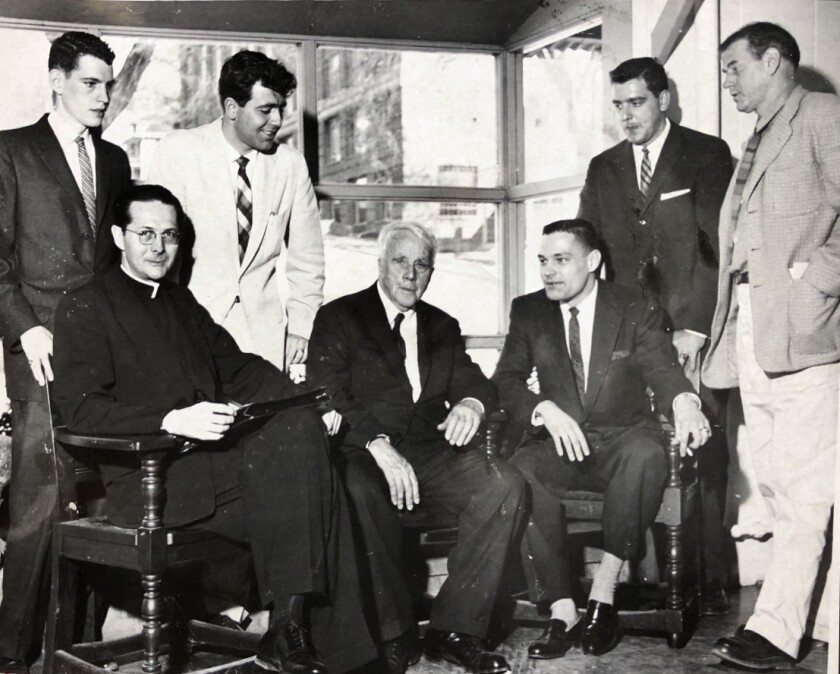 Rancho Santa Fe's Jim Hurley, seated at center next to poet Robert Frost in 1959.