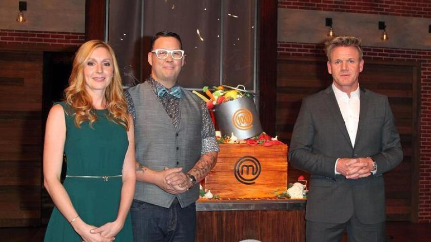 Master Chef's Judges Christina Tosi (left), Graham Elliott and Gordon Ramsay attend FOX's 'Masterchef' as it celebrates 100 episodes. The new season, which premiers May 20, features several San Diegans. (/ Getty Images)