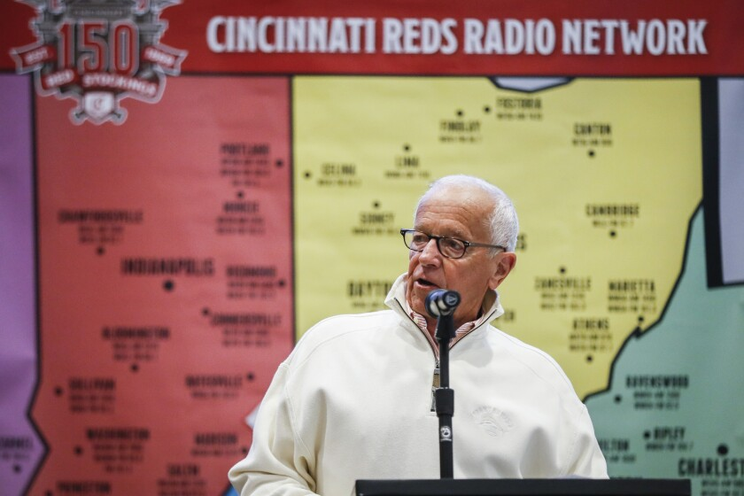 Marty Brennaman speaks before the start of the annual Cincinnati Reds Caravan fan tour, Thursday, Jan. 17, 2019, in Cincinnati. The Reds play-by-play announcer will retire after the 2019 season, his 46th in Cincinnati.