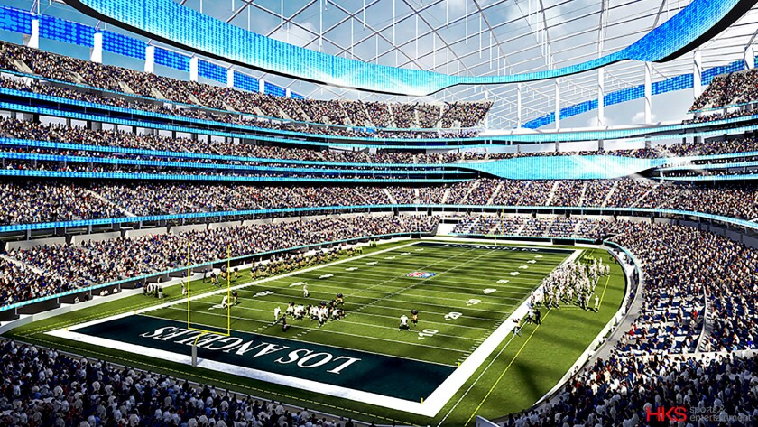 An artist's rendering of the new Inglewood stadium interior.