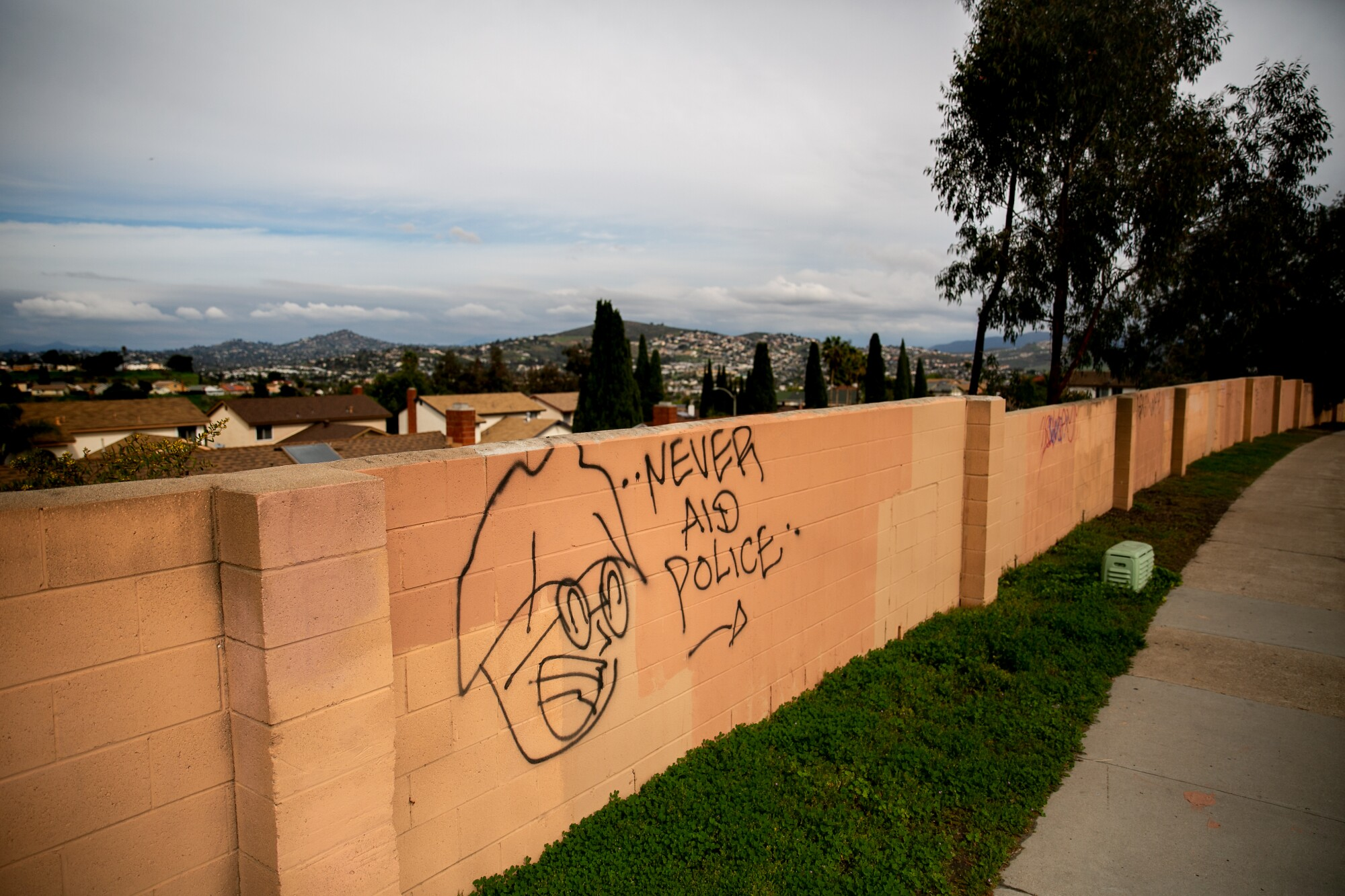 Graffiti marks a wall on Paradise Valley Road near South Meadowbrook Drive in Bay Terraces. Violent crimes decreased in this census block group to zero in 2017, from 9 in 2013. But just a block away, violent crime was up to 11 from 2 in the same period.