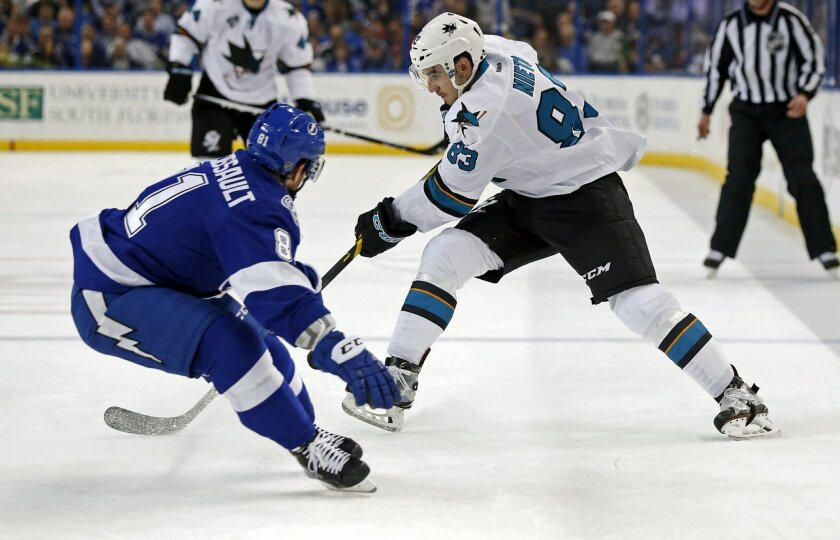 San Jose Sharks' Matt Nieto avoids a check from Tampa Bay Lightning's Jonathan Marchessault during the first period of an NHL hockey game Tuesday, Feb. 16, 2016, in Tampa, Fla. The Sharks won 4-2. (AP Photo/Mike Carlson)