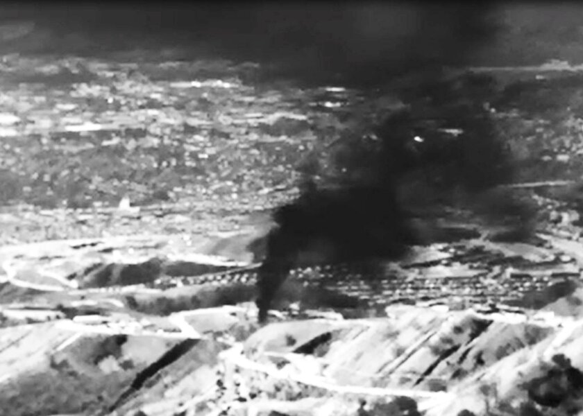 This is a frame grab of an infrared view of the Aliso Canyon gas leak. It was provided to Reuters by the Environmental Defense Fund.