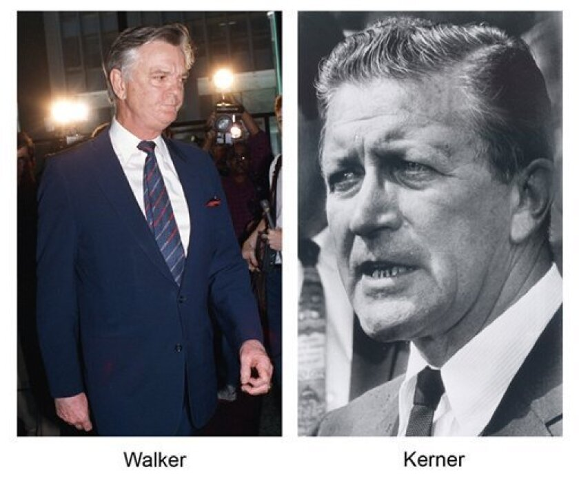 These undated file photos show former Illinois Govs. Dan Walker, left, and Otto Kerner. Walker pleaded guilty in 1987 to fraud and perjury charges and served 17 1/2 months in federal prison. Kerner was convicted in 1973 of bribery, conspiracy, income tax evasion, perjury and mail fraud and served 20 months. (AP Photo/File)