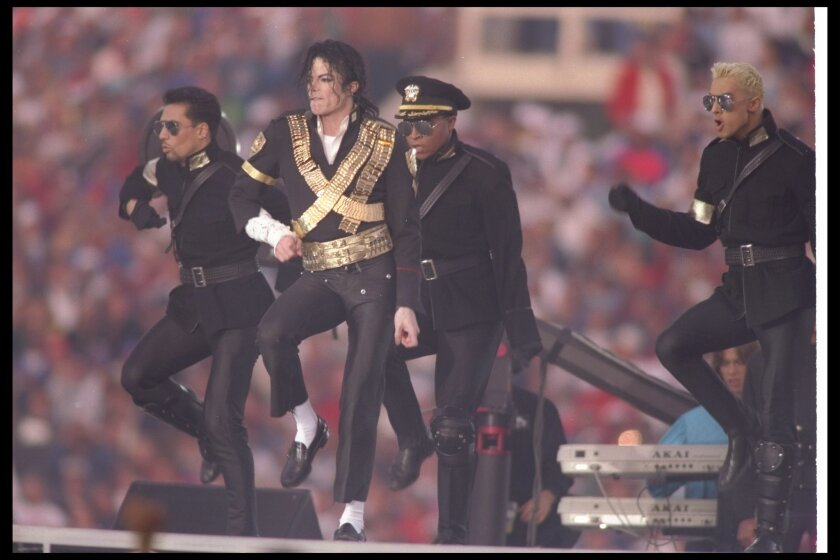 "The King of Pop on the world's biggest stage at the Rose Bowl? How can you top it? The answer is: You can't. Would have been cool if ""Don't Stop Until You Get Enough"" was included in Michael Jackson's five-song set, but beggars can't be choosers. And hey, he did rock ""Billie Jean."" (Getty images)"
