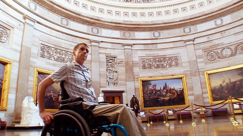 """Tomas Young, in the U.S. Capitol, was paralyzed in Iraq. He was the subject of the documentary """"Body of War."""""""