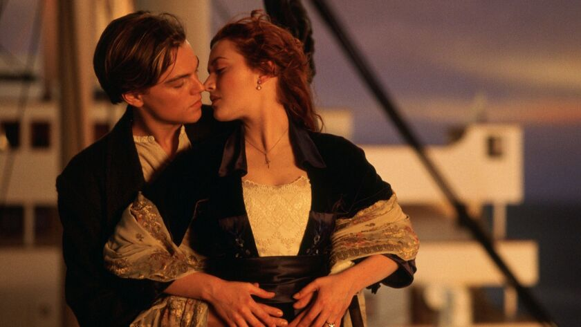 A scene from the movie Titanic 3 D. Left to right: Leonardo DiCaprio plays Jack Dawson and Kate Wins
